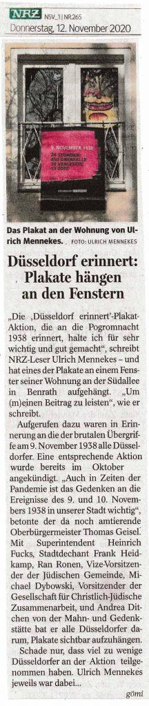 """Beteiligung an der Plakataktion """"Düsseldorf erinnert"""" – in Erinnerung an die Reichsprogromnacht 1938"""
