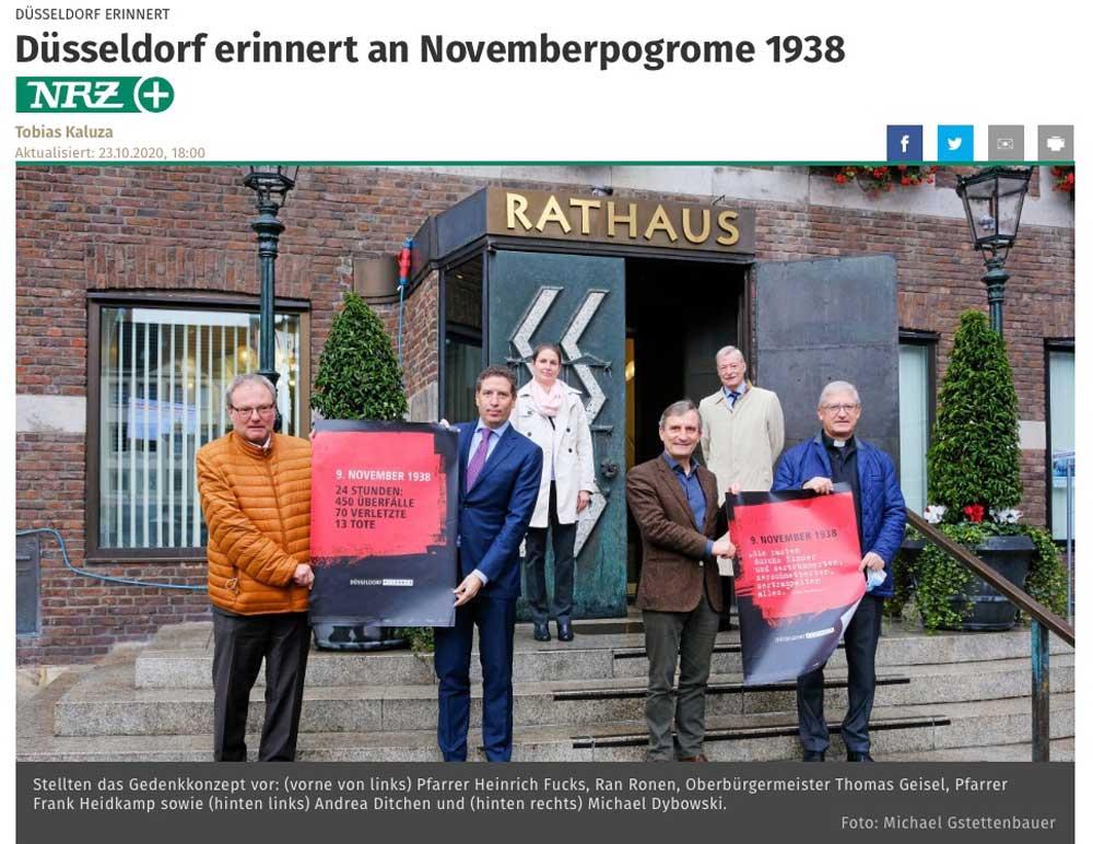 """Berichterstattung der NRZ über die Plakataktion """"Düsseldorf erinnert"""" - in Erinnerung an die Reichsprogromnacht 1938."""